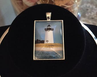 Photograph under glass! Beautiful Edgartown Harbor Lighthouse located on the Island of Martha's Vineyard, MA