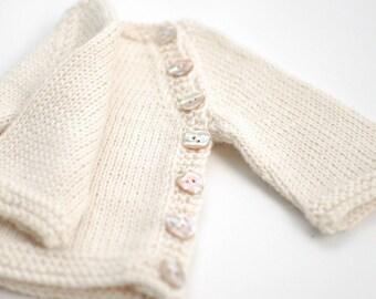 Baby Alpaca baby sweater - Hand knit organic alpaca Baby Cardigan - Newborn Girl Boy - Natural organic white baby alpaca shell buttons