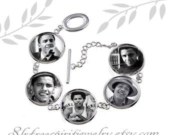 Barack Obama Photo Image Bracelet, Obama Silver Plated Bracelet, Obama supporter, Black & White,Democrat, United States President Obama gift
