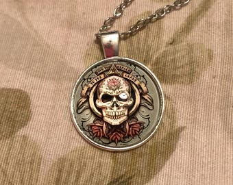 Silver Accented Cradle to the Grave Skull Quote Dangle Pendant Necklace, Goth Necklace