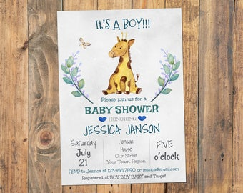 Baby shower invitation girl its a girl baby shower baby shower invitation girl its a boy baby shower invitation giraffe baby shower invitation filmwisefo
