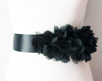 Bridal Black Chiffon Flower Sash Posh Ribbon Belt - Vintage Inspired Wedding Dress Sashes, Night Dress Belts