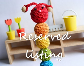 RESERVED listing. Teething toy caterpillar 20 pcs, wooden teething rings 25 pcs, crochet wooden beads, developmental toy, rainbow colors