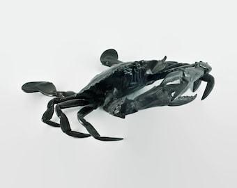 Antique Ornamental Blue Crab Patinated Bronze Sculpture - Life Size
