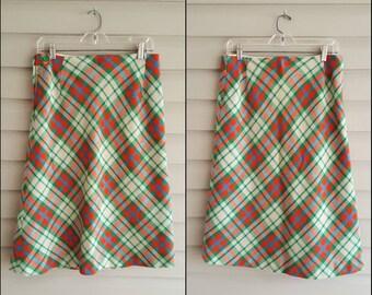 "Vintage 60's 70's M/L 30"" waist cream, lime green, & orange plaid wool straight skirt w/ button detail"