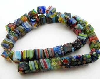 Mixed Color Cube Millefiori Beads - CG071