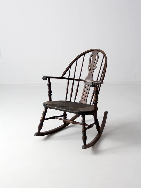 - Antique Windsor Rocking Chair Woven Seat Rocker
