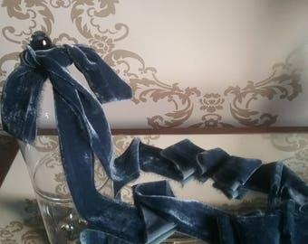 Hand dyed silk velvet ribbon in beautiful ink blue colour