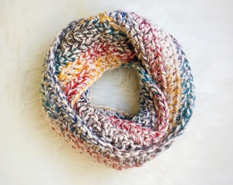 Hudson Bay Infinity Scarf | Chunky Crochet Infinity Scarf | Chunky Crochet Scarf | Multi-color Scarf | Long Scarf