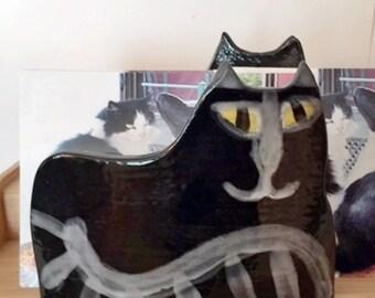 Black Cat napkin holder: yellow eyed Kitty Cat decor handmade black whimsical feline theme design designer kitty art Pottery Pet resort art