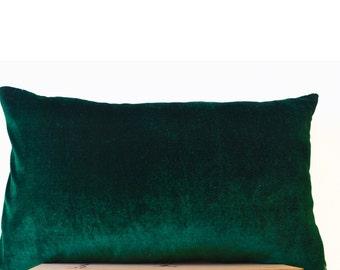 Emerald Green Lush Velvet and Oatmeal Linen Pillow Cover, Decorative Couch Pillow, Gift, Green Bedding, Sofa Pillow, Lumbar Pillow All Size