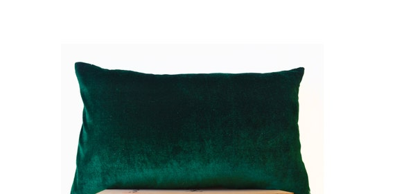 Emerald Green Lush Velvet And Oatmeal Linen Pillow Cover