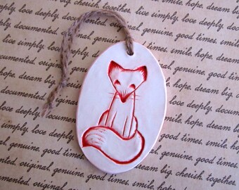 Red Fox Ornament, Clay Christmas Ornament