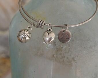 Basketball bracelet // basketball charm // heart // personalized number // basketball team gift // Stainless Steel Bracelet