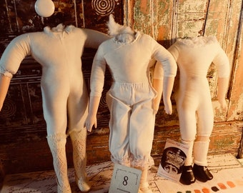 3 HEADLESS DOLLS  with shoes Creepy Crafting Lot No.8 Shabby Chic add a weird head add tulle found objects, voodoo dolls, MAKE Art Create