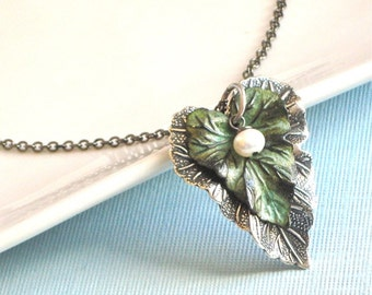 Leaf Necklace - Verdigris Patina Brass, Silver, Mixed Metal, Leaf Jewelry, Nature Jewelry