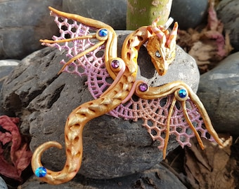 Golden Pink Lace Dragon Pendant