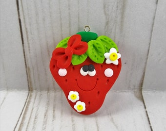 Polymer Clay Strawberry Pendant - Strawberry Necklace Supply -536