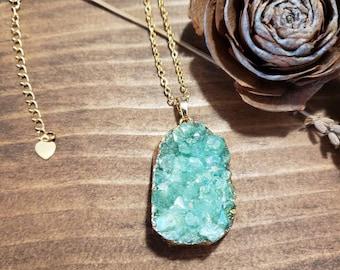 Druzy necklace, druzy jewelry, crystal necklace, green crystals, gold and druzy necklace, green druzy, statement necklace, drusy necklace