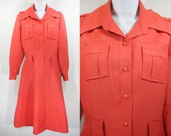 Vintage 70's Orange Spring Coat/Dress M