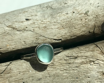 Aqua Sea Glass Ring Size 10