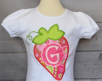 Personalized Strawberry Applique Shirt or Bodysuit Girl