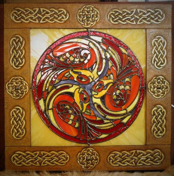 Celtic table stained framed leather tooled interlacing: Triskell Kells peacocks