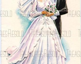Retro Bride & Groom Wedding Card #357 Digital Download