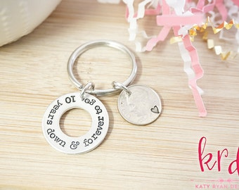 Anniversary Coin Key Chain - 10 Year Anniversary - 5 Year Anniversary - 1 Year Anniversary - Gifts for Men - Hand Stamped Silver Key Chain