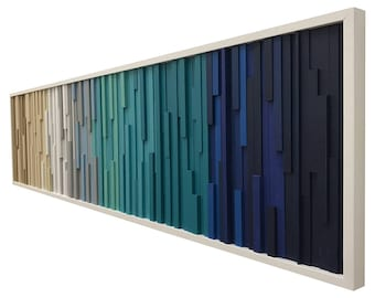 Wall Art - Wood Wall Art -  Wood Sculpture - Large Wall Art - Modern Reclaimed Wood - 3D Art - Headboard Ocean Coastal 72x18