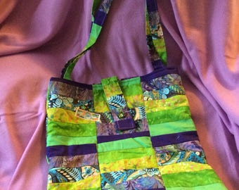 Purple/green patchwork tote