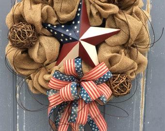 Rustic Patriotic Wreath, Red White and Blue Wreath, Wreath for Front Door, 4th of July Wreath, Burlap Wreath, Patriotic Decor, Americana