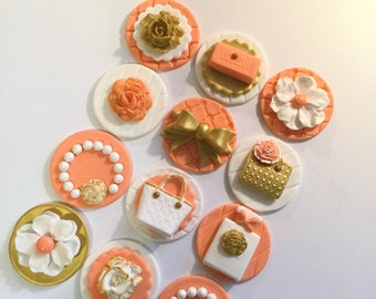 Designer  Fondant Cupcake  Cake Cookie Toppers Set of 12 Any Color