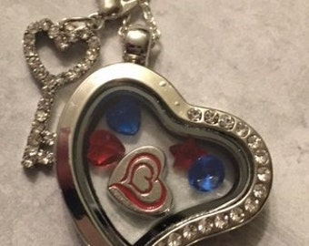 Cute New Silver Floating Charm Heart Necklace with a Dangling Key and Some Colorful Bling - Includes a Chain
