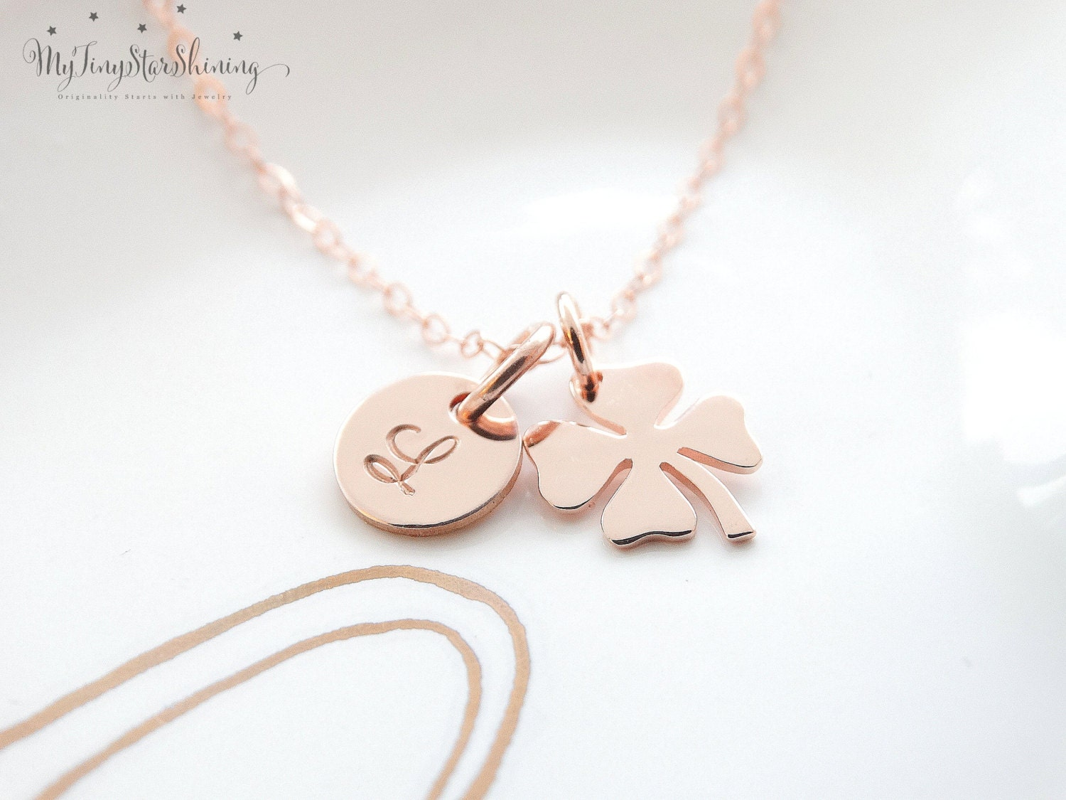 four rose stud clover charm necklace lucky women gold plated s leaf l