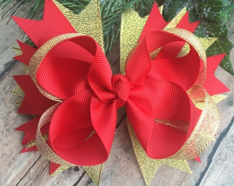 Red and gold bow - red and gold Hair Clip - sparkle bow - glitter bow - Valentines Day bows - red hair bow - boutique bow - ready to ship