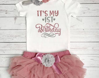 First birthday outfit girl, First Birthday Outfit, It's My First Birthday, Cake Smash Birthday, birthday tutu outfit,1st Birthday Outfit,