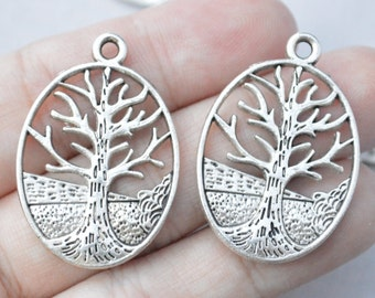 3 Pcs Tree Charms Tree of Life Charms Antique Silver Tone 34x24mm - YD1212