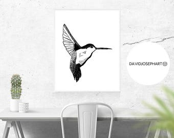 Hummingbird Print, Scandinavian Bird, Minimalist Design, Hand Drawn, Animal Printable, Hummingbird Decor, Nursery Print, Instant Download