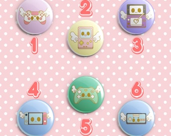 Magical Video Game  Console Pin-Back Buttons