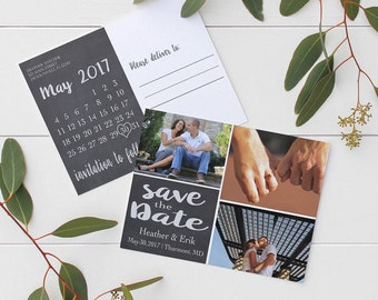 Chalkboard Save the Date Postcard