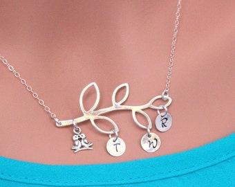 Family Initial Tree Necklace - Sterling Silver Family Tree - Personalized Family tree Neckalce - Family Tree Jewelry - Family tree Bird