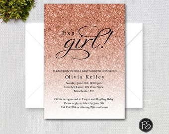 Rose Gold Brushstroke Baby Shower Invitation Pink and