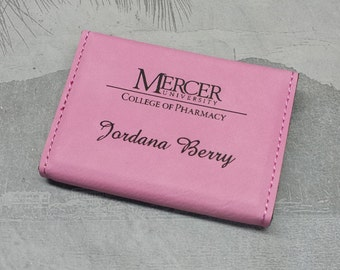 Business Card Holder, Pink,  Business Card Case,  Leatherette, Groomsmen Gift, Bridal Gift, Business Gift