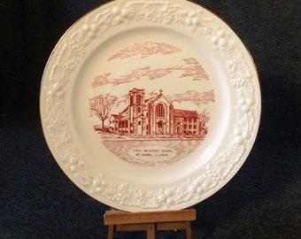 First Methodist Church - Mt. Carmel, Illinois - Commemorative Plate