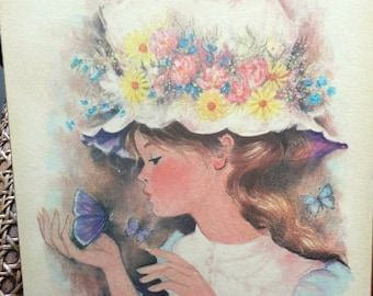 Vintage Signed A.Gruerio Wall Hanging Little Girl, Flower Hat, Purple Butterfly