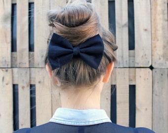 Black Hair Bow. Black Hair Bow Barrette Clip. Anthracite Black Hair Bow Elastic. Bow Brooch Pin.