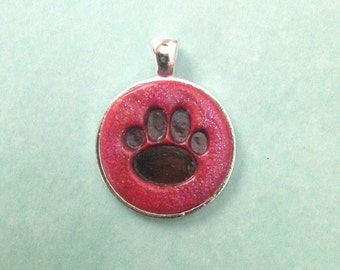 25 mm Black Paw Print with red background Pendant