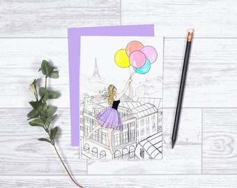 "Floating Above Paris - Note Card - 4""x6"" - Individual - Gifts for Her - Eiffel Tower - Greeting Card - Paris - Balloons - Celebration -Party"
