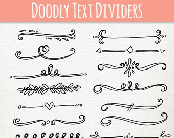 CLIP ART: Doodly Text Divider // ABR Photoshop Brushes // Hand Drawn Vintage Style // Calligraphy Typography // Vector // Commercial Use